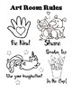 Art Room Rules Set and Coloring Pages