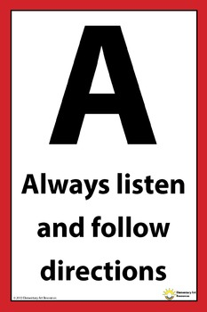 Art Room Rules - The Artist Pledge Classroom Management Posters Elementary Arts