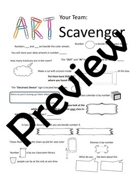Art Room Scavenger Hunt (Editable)