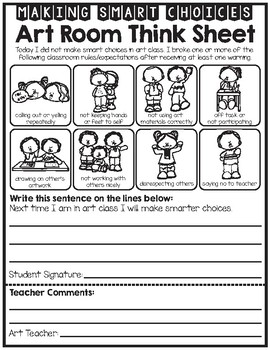 Art Room Student Reflection - Behavior - Think Sheet