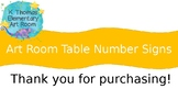 Art Room Table Number Signs