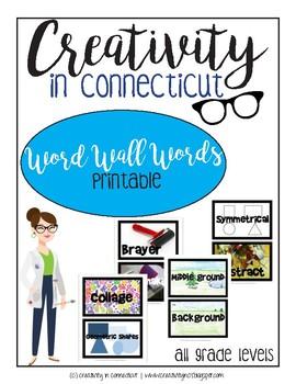 Art Room Word Wall Words