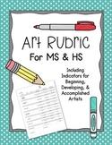 Art Rubric MS HS Art Projects