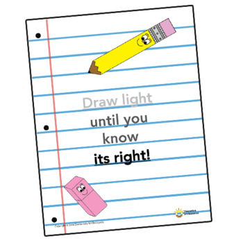 Art Rules Poster - Draw Light Until You Know It's Right - Elementary Arts