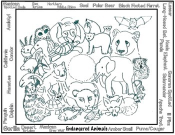 Art Science ... Endangered Animals Earth Day Art Packet (6 printables)