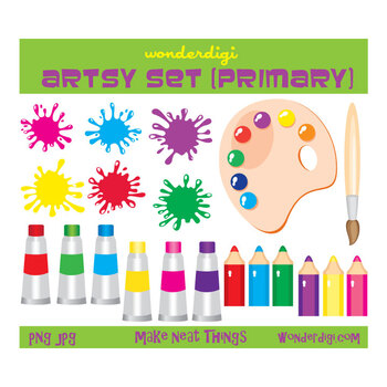 Art Set Elements Icons - Crayons, Paints, Paintbrushes