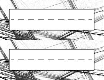 Art Sketch Desk Name Tag Plates Set