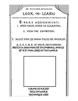 Art Sketchbook Assignment Look -n- Learn