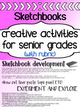 Art - Sketchbook Assignments - for Senior Grades in high school