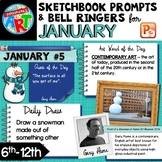 Art Sketchbook Prompts and Bell Ringers- JANUARY