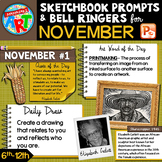 Art Sketchbook Prompts and Bell Ringers- NOVEMBER