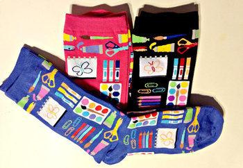 Art Socks, Art Supplies Design, Cool Socks for Teachers, Artists, Women