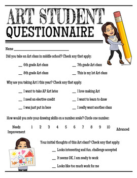 Art Student Questionnaire Editable (High school or Middle school)