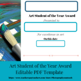 Art Student of the Year Award Editable PDF Template