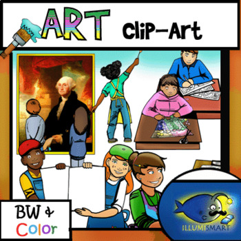 Art Students Clip-Art! 27 pieces B/W and COLOR!