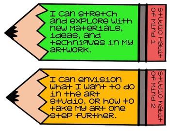 "Art Studio Habits of Mind ""I Can"" Statements"