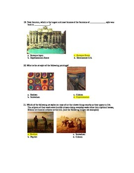 Art Styles Final Exam and Key--Companion to Art Styles Powerpoint--Many Images