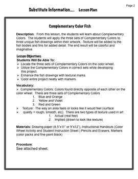 Art Sub Lesson: Complementary Color Fish
