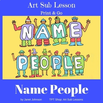 Drawing of people made from the letters of a person's name