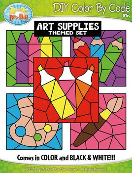 Art Supplies Color By Code Clipart {Zip-A-Dee-Doo-Dah Designs}