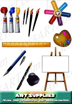Art Supplies Objects Clipart 8 Pack Digital Graphics
