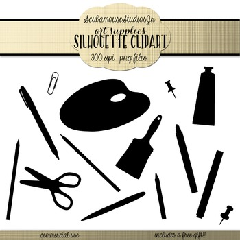 Art Supplies Silhouette Clipart, Commercial Use Digital Graphics