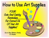 How To Use Art Supplies - Reminder Labels For Quick Reference