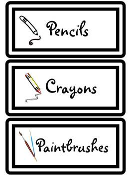 Art Supply Labels - Room Set Up