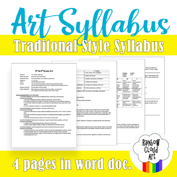 Art Syllabus for 5th and 6th Grade, Editable, Word doc.