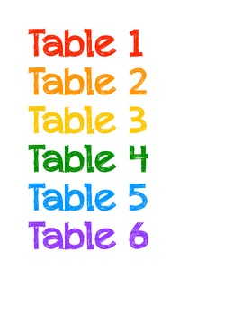 Art Table Colors