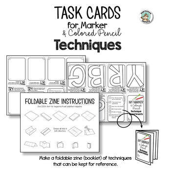 Art Task Card & Foldable Zine for Colored Pencils and Markers