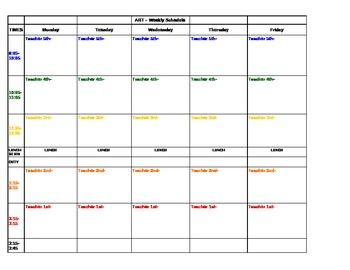 Art Teacher Plan book Schedule