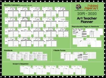 Art Teacher Planner K-12 - Brushstrokes – UPDATED 2018-2019