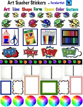 Art Teacher Stickers- DIY Planner Stickers- 84 different stickers- Organize