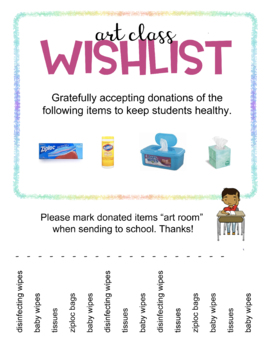 Art Teacher Wish List. Request for donations and supplies.