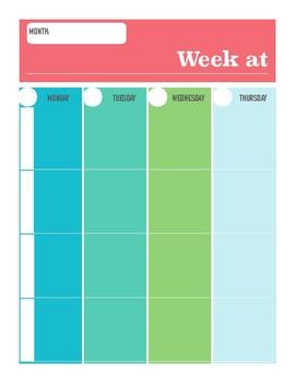 Art Teacher's Week at Glance for Block Schedule