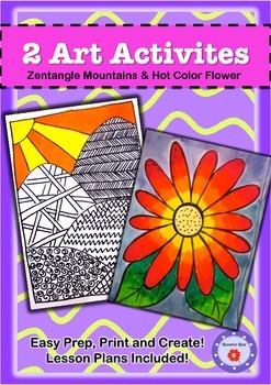 Art Activities-Zentangle Mountains & Flower