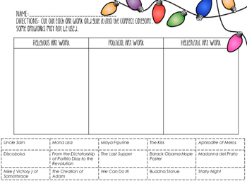 Art Terminology Match Game and Interactive Notebook Artwork Category Worksheet