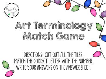 Art Terminology Match Game and Interactive Notebook Artwor