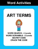 Art Terms - Word Search, Word Scramble,  Secret Code,  Crack the Code
