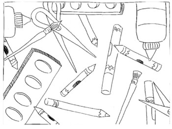 Art Themed Coloring Sheet Set School Supplies Art Class