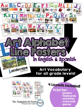 Art Vocabulary Alphabet Posters... Shows Words in English & Spanish