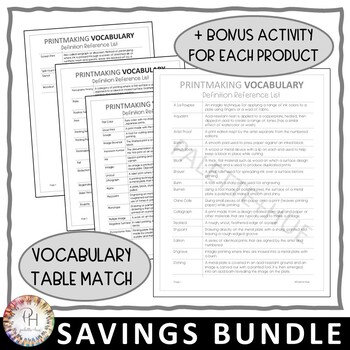 Art Vocabulary DON'T SPEAK IT! Games | Table Match Activities | Savings Bundle