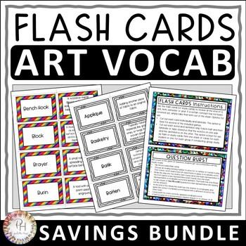 Art Vocabulary Term Flash Cards | Vocabulary Review Games | Savings Bundle