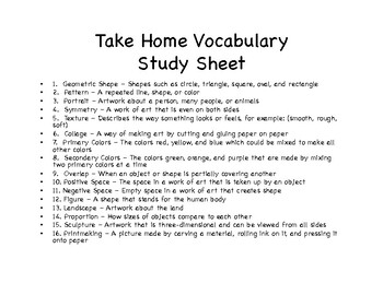 """Art Vocabulary """"Freebie"""" for First and Second Graders"""