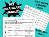Art Vocabulary Handout Worksheet Writing and Literacy in Art Class