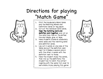 "Art Vocabulary ""Match Game"" For First and Second Graders"