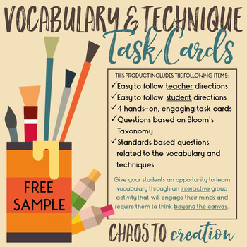 Art Vocabulary & Techniques Task Cards: FREE