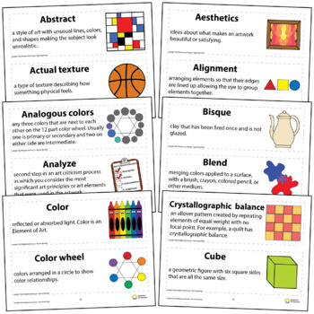Art Word Wall Vocabulary Poster For Elementary Art Education 150+ Definitions