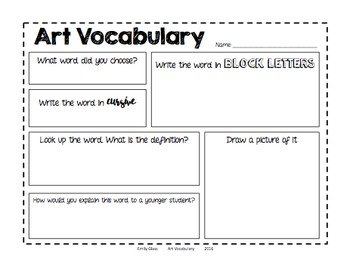 Art Vocabulary Worksheet by Emily Glass | Teachers Pay Teachers